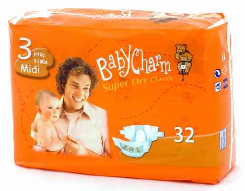 BABYCHARM SUPER DRY CLASSIC T 3 MIDI 4/9 kg (32 uds)