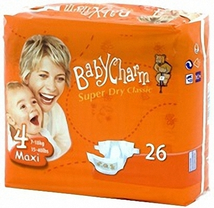 BABYCHARM SUPER DRY CLASSIC T 4 MAXI 7/15 kg (26 uds)