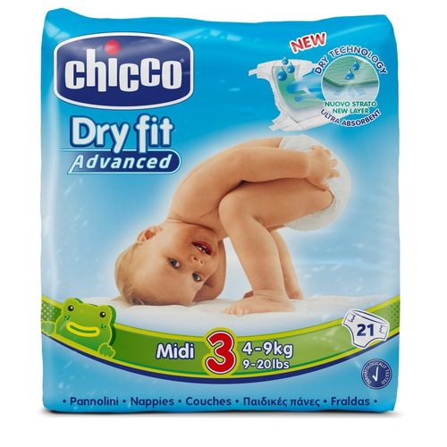 PAÑALES CHICCO DRY FIT ADVANCED T3/4 a 9 Kg  21 uds