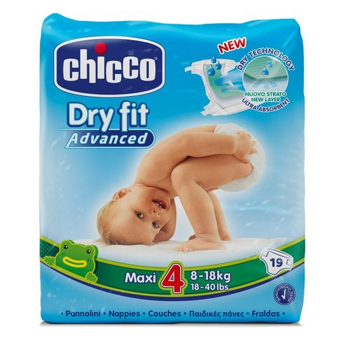 PAÑALES CHICCO DRY FIT ADVANCED T4 8 a 18 Kg 19 uds