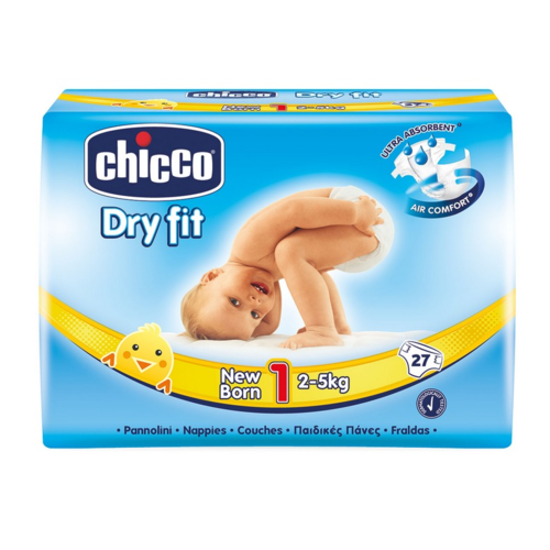 PAÑALES CHICCO DRY FIT ADVANCED T1/2 a 5 kg 27 uds
