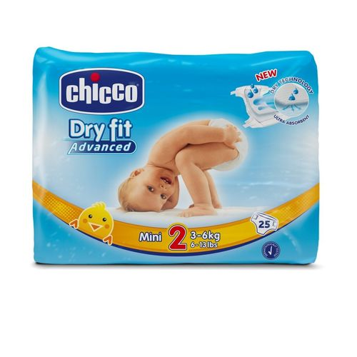 PAÑALES CHICCO DRY FIT ADVANCED T2 3 a 6 kg 25 uds