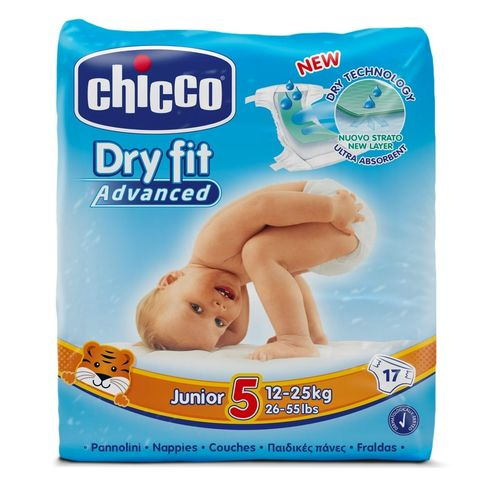 PAÑALES CHICCO DRY FIT ADVANCED T5 12 a 25 Kg 17 uds