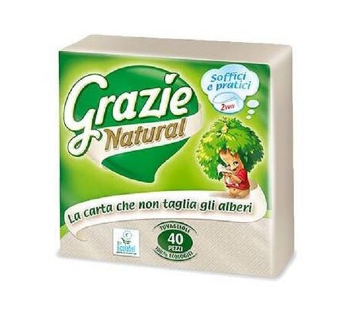 SERVILLETAS ECOLOGICAS GRAZIE NATURAL DOBLE CAPA 40 uds